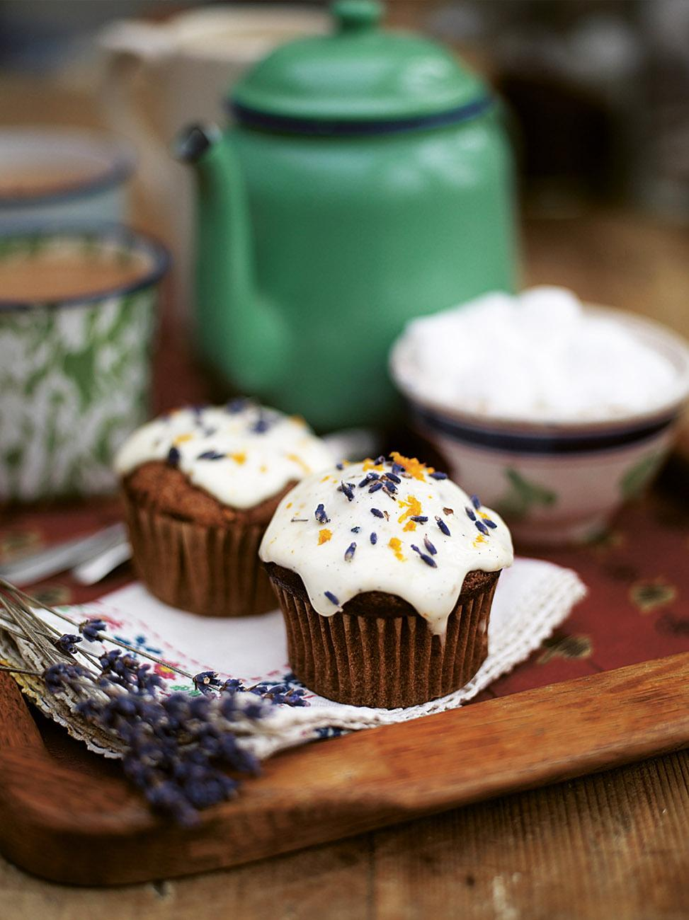 Butternut squash muffins with a frosty top