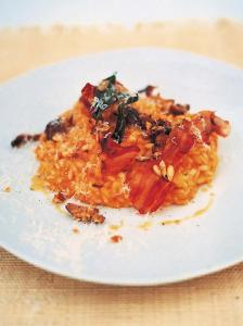 Roast squash, sage, chestnut and pancetta risotto